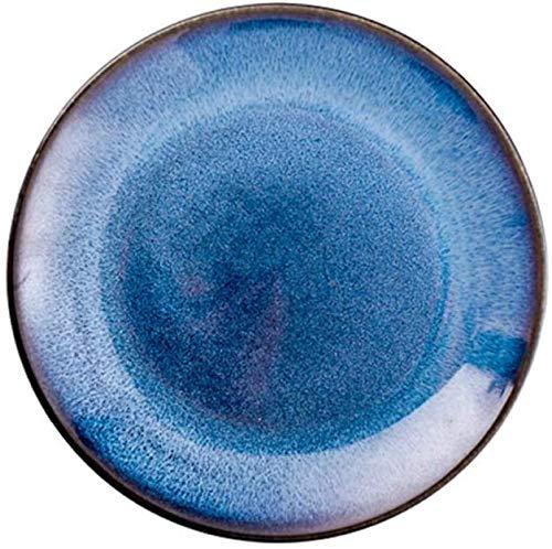 TREEECFCST Platos Vajilla Placa de cerámica Occidental Alimentos Placa Filete Placa Hotel Pasta Azul de la Placa del Horno Cambio Placa Restaurante Plato (Color : Blue, Talla : 25.5x2.5cm)