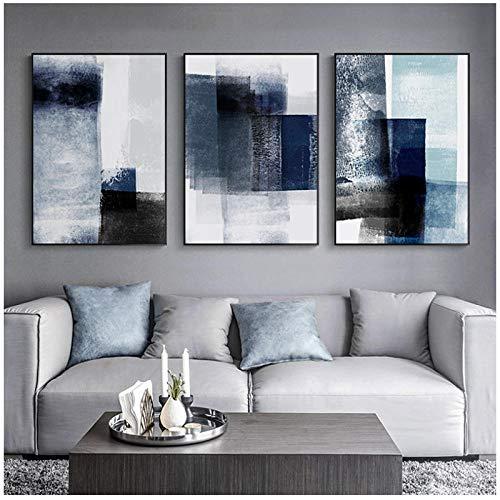 WQFairy Abstracto Moderno Lienzo Pintura Pared Arte Impresiones Minimalista Azul Graffiti decoración póster Cuadros para Sala nórdico decoración (3 Piezas 50x70 cm sin Marco)