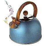 ZRY Tetera, hervimán de Acero Inoxidable, con Mango de Madera Resistente al Calor, Adecuado para cocinas de inducción, Estufa de cerámica eléctrica de Gas de 2,5 litros Azules.