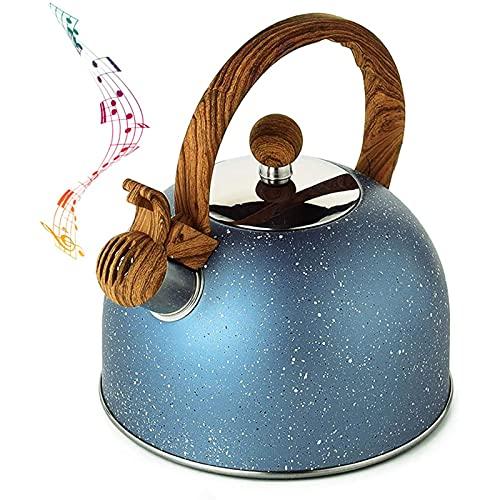 VBF Tetera de Silbato de Acero Inoxidable, Tetera con Mango de Madera Resistente al Calor, Cocina de inducción, Estufa de cerámica eléctrica de Gas Superior 2.5 litros Azul