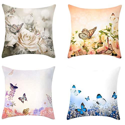 Haude - Federa per cuscino, motivo floreale, 45 x 45 cm, per divano, letto, decorazione