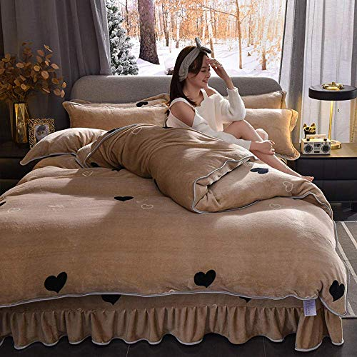 Warm Bedding King Set,flannel Bedding Set Printed children,Crystal Duvet Cover Winter Warm fitted valance sheet for double super king Khaki 200 * 230cm(4pcs)