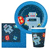 Robot Birthday Party Supplies Set for 24 Guests - Includes 72 pcs Total: 24 Cups, 24 Plates, 24 Napkins