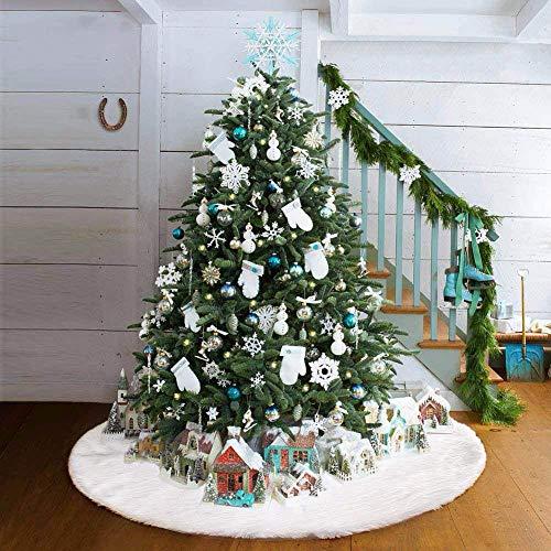 Árbol de navidad blanco Falda de felpa Adornos para el árbol de vacaciones Decoración para la decoración de Navidad Suministros (122 cm)