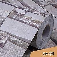 ウォールステッカーステッカー壁紙 ヴィンテージ3Dレンガの壁紙PVC文化ストーン装飾フィルム自己接着リビングルームのテレビの背景防水ウォールステッカー (Color : Zw 06, Dimensions : 10m x 40cm)