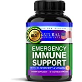 Emergency Immune Support. Vitamins, Elderberry, Turmeric, Garlic, Zink & Vitamin C. Fast Potency Absorb. Non GMO. Made in USA