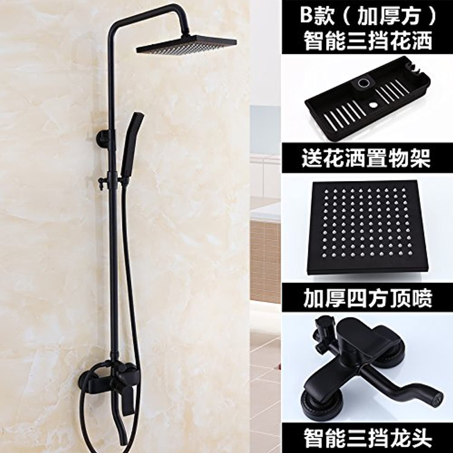 ETERNAL QUALITY Bathroom Sink Basin Tap Brass Mixer Tap Washroom Mixer Faucet Black boost shower set bathroom Dumb black shower antique-brass faucets to lift B Thick part