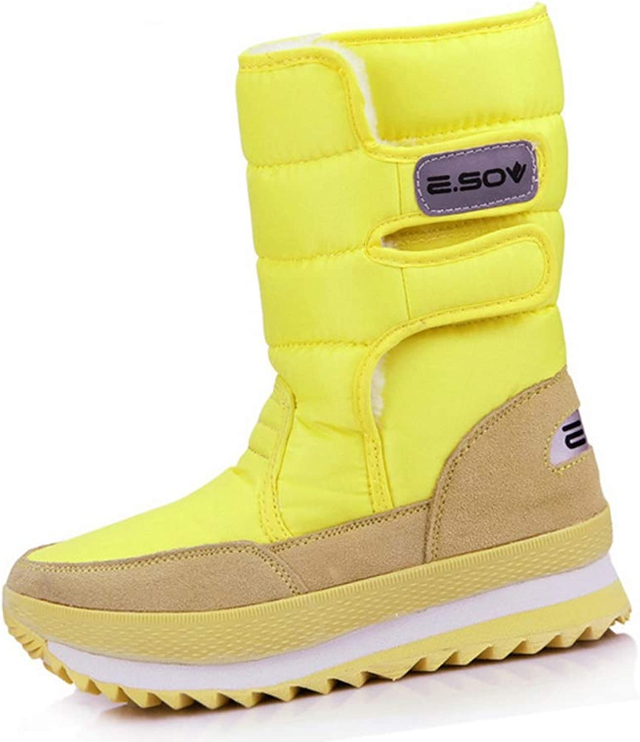 Hoxekle Fashion Warm Winter Snow Boots Women Snow Boots Round Toe Mid-Calf Boots Flats shoes White Black Yellow