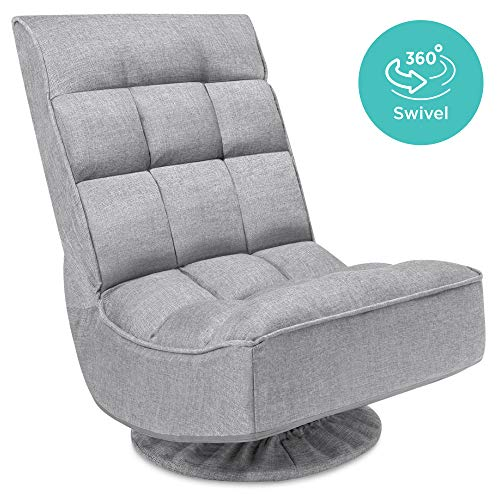 Best Choice Products Reclining Folding Floor Gaming Chair for Home, Office, Lounging, Reading w/ 360-Degree Swivel, 4 Adjustable Positions, Tufted Cushions - Gray