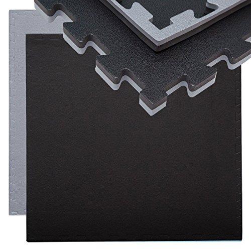 EYEPOWER 20mm Dicke Bodenschutz-Matte 90x90cm Trainingsmatte Puzzlematte erweiterbare Fitnessmatte inkl. Rand Grau Schwarz