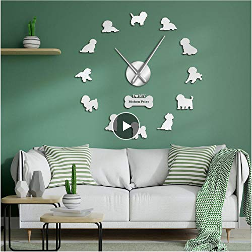 xtmyz diy wall clocks Bichon Frise Dog Breed Pug Modern Wall Watches Animal Pet Decorative Large Big Clock Wall Sticker 3D Clock