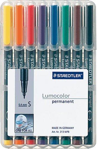 Folienstift Lumocolor S permanent, 8er Box, grün, rot, blau, schwarz, orange, braun, gelb, violett