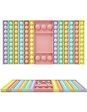 Kine 126 grote schaakbordblazen, push en pop-bubble sensory fidget speelgoed met 2 dobbelstenen, multiplayer-spel, tang, sensorisch speelgoed, siliconen, eenvoudig tegen stress en stress