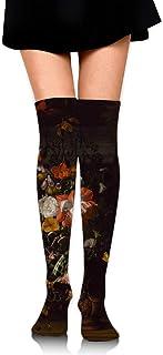 iuitt7rtree Calcetines de falda de niña Uniforme Pintura al óleo Flor Calcetines de tubo de mujer Calcetines de compresión...