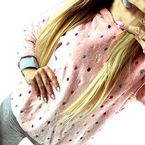 LILIGOD Plüsch-Sweatshirt für Damen Wave Point Kapuzenpullover Langärmliges Lässig Hoodie...