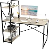 SMAGREHO Computer Desk with 4 Tier Shelves, Reversible Writing Study Table with Bookshelves, Modern Simple Compact Home Office Workstation, Oak