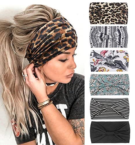 Stirnbänder Damen Frauen Haarreifen Breite Boho Blumendruck Knot Yoga Sport Haarbänder Elastische Haarschmuck Mehrfarbig WeicheTurbane
