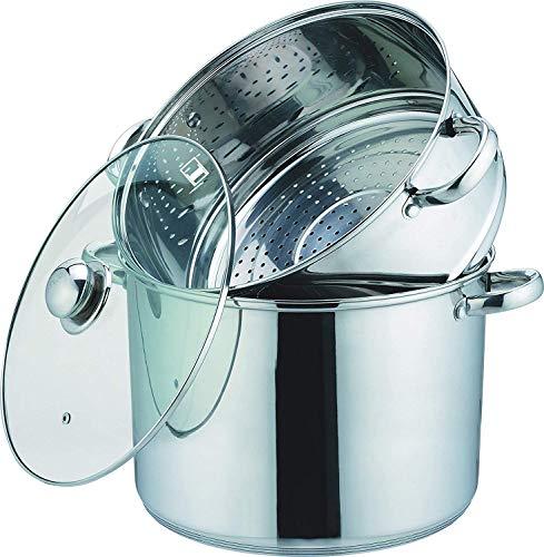 Kamberg 0008059 - Olla para cocinar al vapor (3 en 1, diámetro 20 cm, 4 L, acero inoxidable, tapa de cristal, apta para inducción)