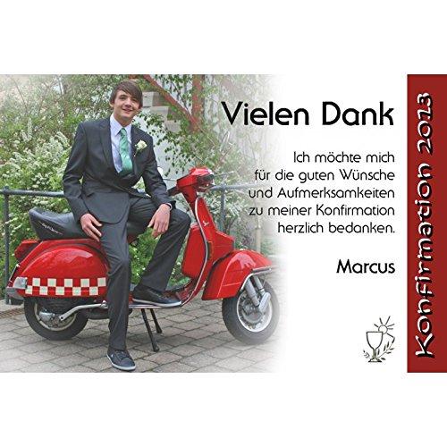 15 Individuelle Fotokarten als Danksagung, Danksagungskarte K83, Kommunion, Konfirmation, Firmung im Format 10x15 cm inkl. hochwertigem farbigen C6 Umschlag