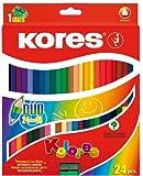 Kores - Lápices de colores dúo (3 cantos, incluye sacapuntas, 48 colores diferentes)