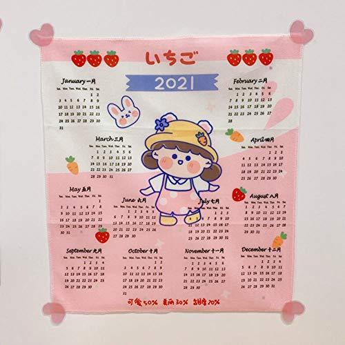 W&G kawaii tapiz colgante de pared estilo coreano tela de fondo Ins linda decoración de pared 2021 calendario tapiz colgante de pared Tumblr enviar pegatina