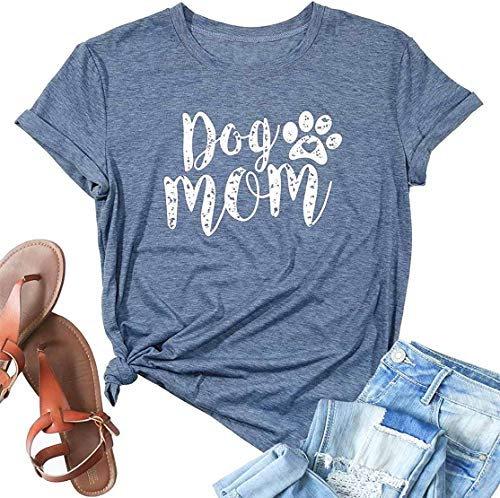 Dog Mom Shirt Women Funny Cute Paw Graphic Tee Dog Lover Short Sleeve Mom Gift Tops Blue (X-Large)