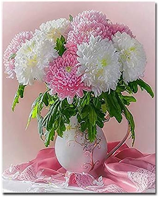 suministro directo de los fabricantes KYKDY DIY Pintura Digital Por Números Kits para para para Colorar Hermosas Flores Florero Decoración para el hogar Cuadros del aceite Dibujo Por Números Niños Regalo único, 60x75cm DIY Sin marco  bajo precio