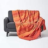 Homescapes große Tagesdecke Morocco, orange, Sofa-Überwurf aus 100prozent Baumwolle, weiche Wohndecke 225 x 255 cm, orange-Terracotta gestreift, mit Fransen