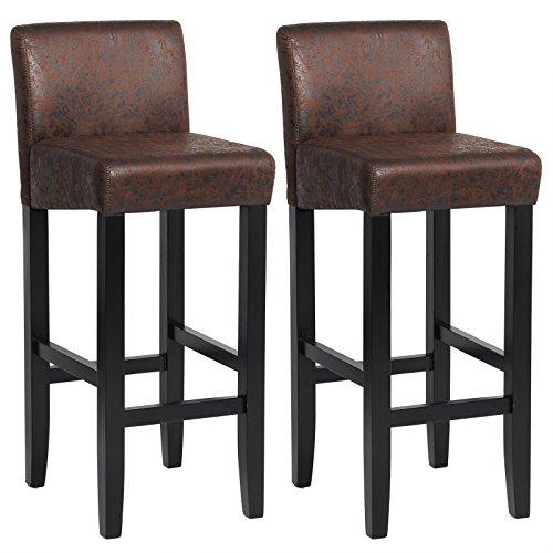 Woltu® # 787–Taburete de bar de piel artificial sentadas patas de madera maciza–Juego de 2, Look en piel antigua, Brun Foncé Look en cuir antique, 2 unidades
