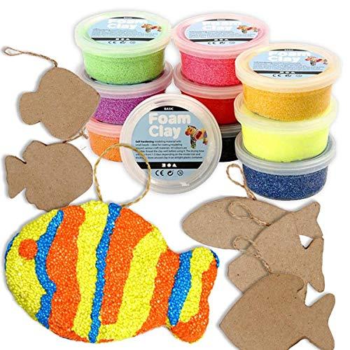 Set de manualidades para niños, para crear peces de colores: 6 peces de papel maché y 10 botecitos de Foam Clay (pasta para modelar)en vivos colores