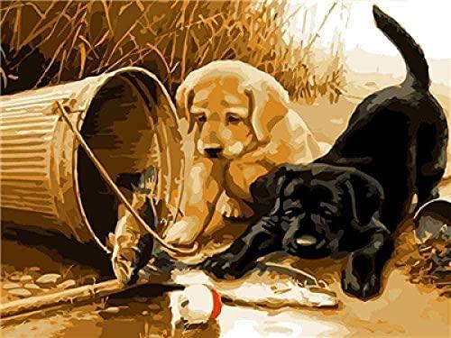 Kit de bordado de punto de cruz-cachorro blanco y negro 11CT 16X20 pulgadas-kit de bordado de punto de cruz kit de bordado DIY bordado preimpreso decoración del hogar