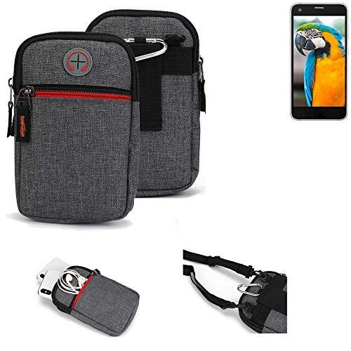 K-S-Trade® Gürtel-Tasche Für Vestel V3 5040 Handy-Tasche Holster Schutz-hülle Grau Zusatzfächer 1x