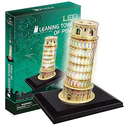CCCYT Italien Wahrzeichen 3D Puzzle Modell LED Der Schiefe Turm von Pisa Baukasten DIY Montage Puzzle Spielzeug Geburtstags Geschenk aus fur Erwachsene Männer Jugendliche(15 PCS)