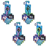 Trolls DreamWorks World Tour Tiny Dancers Surprise 4-Pack Series 3, Tiny Dancers Dolls, Clips, Rings, and Glasses, Toy for Kids 4 and Up