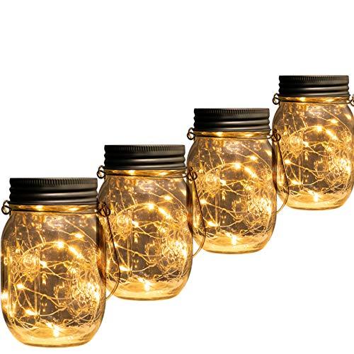 Beslands Solar Mason Jar Light Led Jar Solar Glas 20 LED 4 Pack Lampen Weihnachten Dekorative Beleuchtung für Glas Mason Jar Hängen Laterne Licht Garten Patio (Mason Jar enthalten)