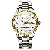 OLMECA Men's Watches Luxury Wristwatches Rhinestone Diamonds Watches Waterproof Fashion Quartz Watches Diamonds Watch Stainless Steel Band 0867M-JJBMgd