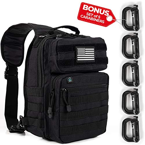 Army Tactical Backpack Molle | Sling Back Pack | Best Military Survival Gear for Men and Women - Range Shoulder Sling Bags - Small One Strap Bag for Hiking - Black