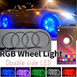 ACOUTSHINE 4PCS 17inch RGB LED Wheel Ring Light Kit Bluetooth Control Turn Signal and Braking Function can Controlled by Remote and APP (Double Row) LED Light for car rim lights