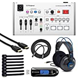 Roland VR-1HD AV Streaming Mixer + Samson SR970 Professional Studio Reference Headphones + 32GB USB 3.0 Flash Drive + HDMI Cable + Mic Cable + Rip Ties – Top Value Bundle