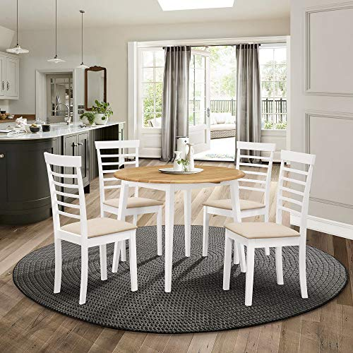 Hallowood Ledbury Small Solid Wooden Round Drop Leaf Dining Table and 4 Chairs Set in White & Oak, Rubberwood, White Painted Body with Light Oak Finish Top, LEB-RTAB920-SET(4)-W