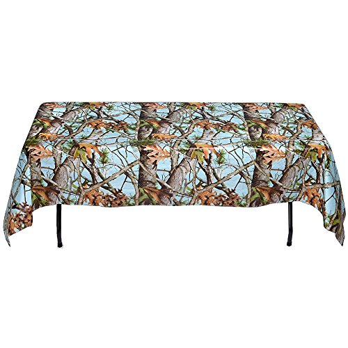 Baby Blue Camo Table cover (54 x 108, Paper, Water and Tear Resistant) Light Blue Camo Party Collection by Havercamp