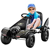 COSTWAY Gokart per Bambini, Go Kart a Pedale con Sedile Avvolgente, Freno a Mano, per Bambini da 3-8 Anni, Nero