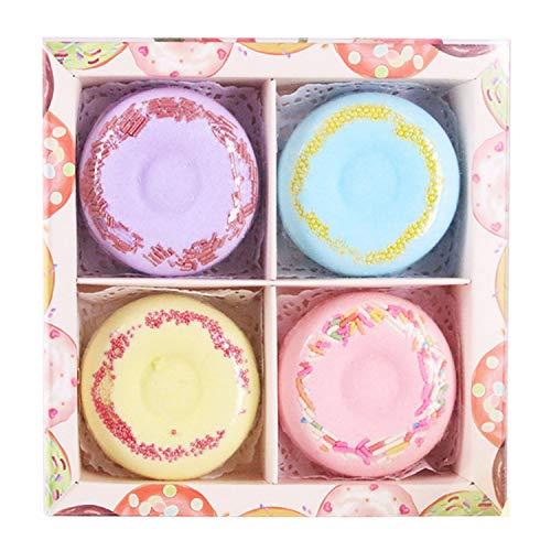 4 pcs bombes de bain ensemble mignon beignet naturel Spa bombes de bain balle salle de bain fournitures pour femmes fille cadeaux hydrate la peau sèch