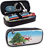KLKLK estuche Santa Sturdy Pencil case Traditional Xmas Character with Funny Reindeer Surprise Present Boxes Under Pine Tree Storage Stationery Multicolor