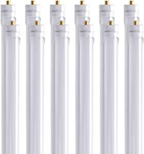 Barrina (Pack of 12) T8 T10 T12 LED Light Tube, 8ft, 44W (100W Equivalent), 6500K, 4500 Lumens, Frosted Cover, Dual-Ended Power, Fluorescent Light Bulbs Replacement