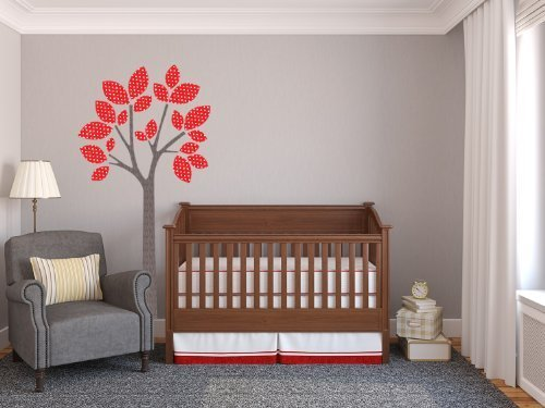 Sunny Decals Modern Tree Fabric Peel and Stick Fabric Nursery Wall Sticker, Red by Sunny Decals