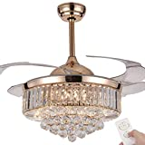 Retractable Crystal Ceiling Fan, 3 Light Change LED Silent Fan Chandelier with Remote Control,42 Inch 36W Modern Invisible Ceiling Fan with Ligh (Rose Gold)