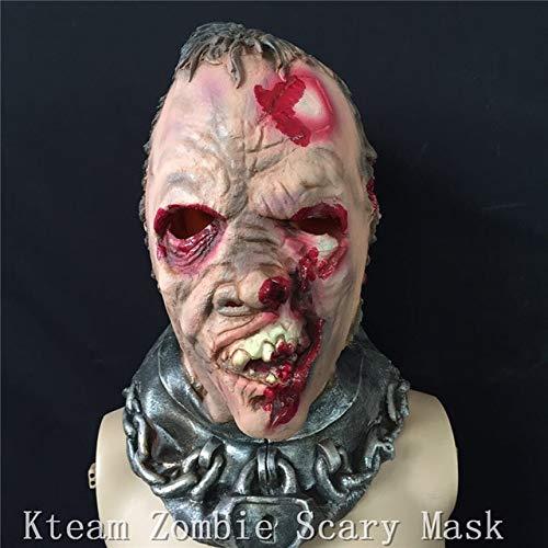XIAMAZ Scary Zombie Mask Adult Full Face Facial Transpirable Cómodo Máscara De Halloween Disfraz Fiesta Fiesta Cosplay Disfraz