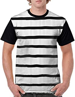 Printed Short Sleeves,Modern Decor,Abstract Minimalist Horizontal Paintbrush Stripes Bands Simplistic Artful Design,Charcoal Grey S-XXL Baseball T-Shirt Tee Tops