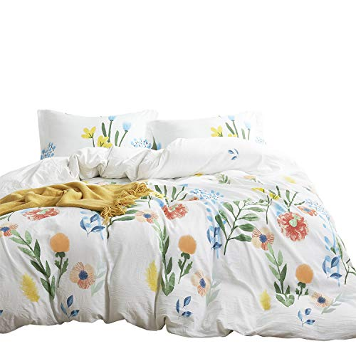 Wake In Cloud - Floral Duvet Cover Set, 100% Cotton Bedding, Colorful Watercolor Flowers Leaves Painting Printed on White, Zipper Closure (3pcs, Full Size)